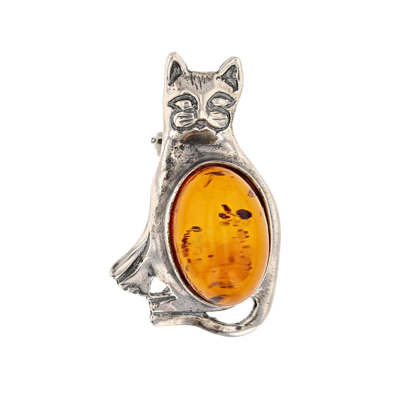 Amber Cat Brooch - David's Antiques & Jewelry