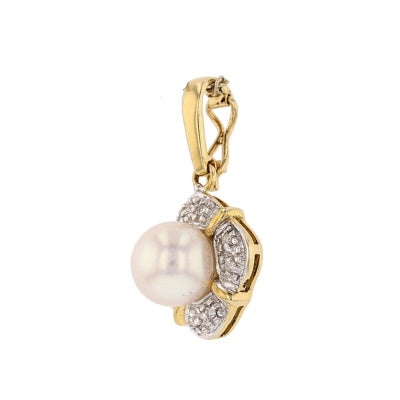 Akoya Pearl & Diamond  Pendant - David's Antiques & Jewelry