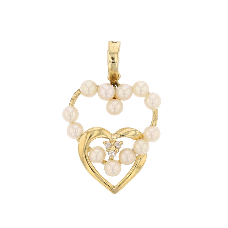 Heart  Pearl & Diamond Pendant