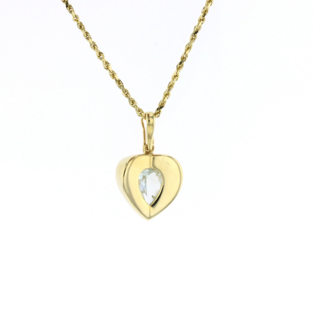 Abstract Heart Aqua Pendant - David's Antiques & Jewelry