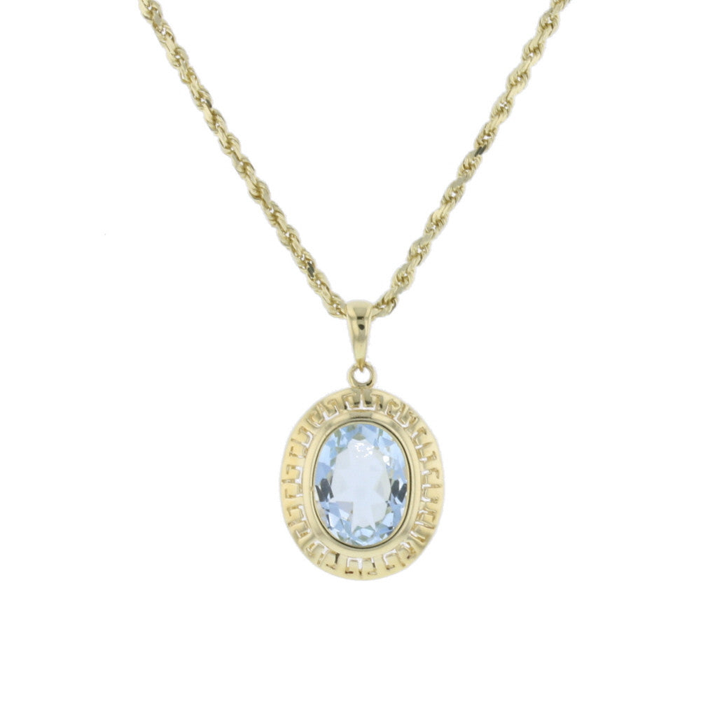 Open Design Aqua In Yellow Gold Pendant