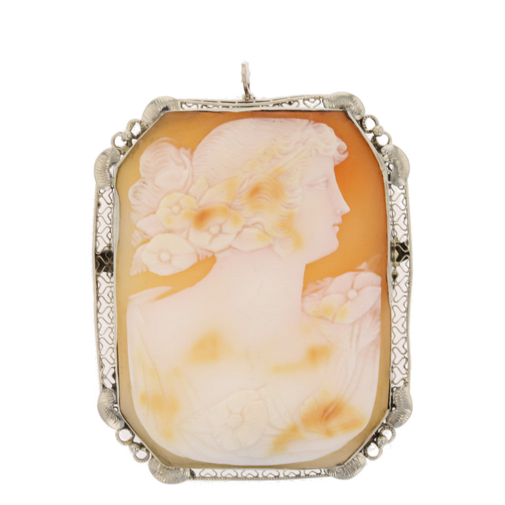 Octagon Antique Shell Cameo Brooch Pendant