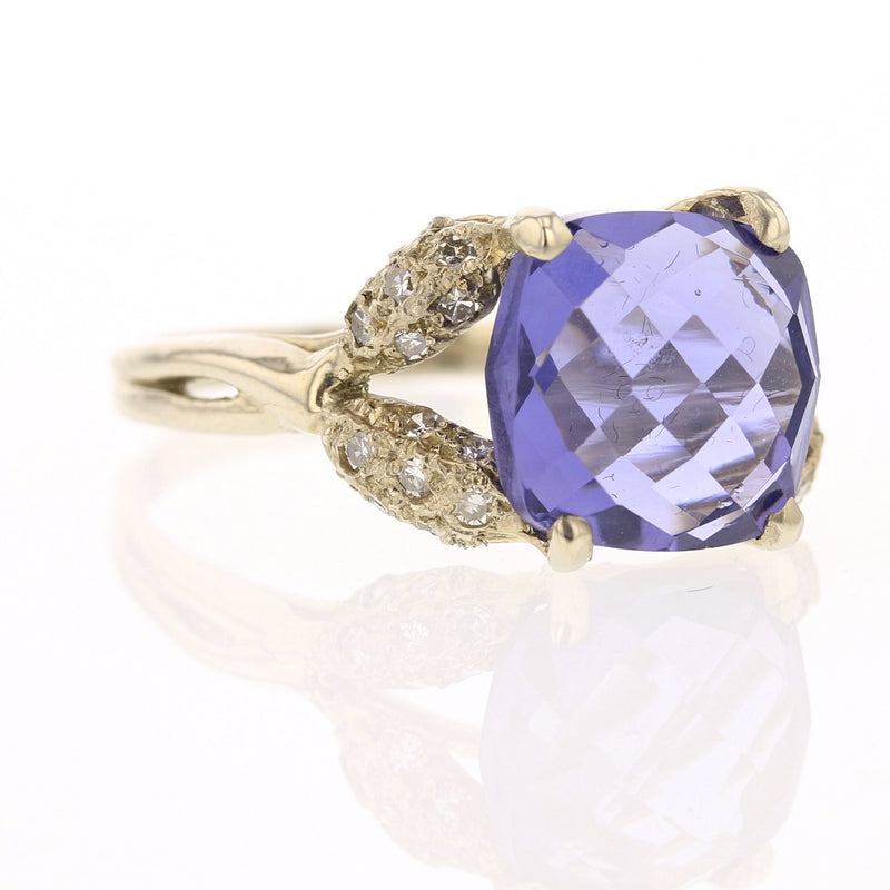 Iolite & Diamond Ring