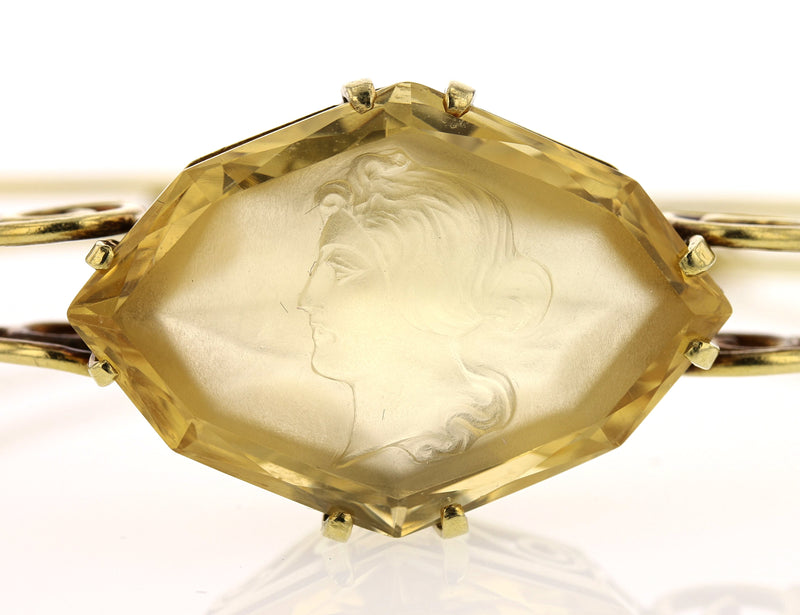 Antique Citrine Cameo Cuff - David's Antiques & Jewelry