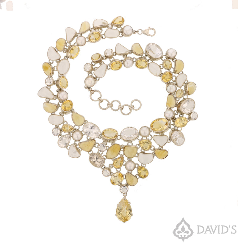 Citrine, Pearl & Quartz Necklace