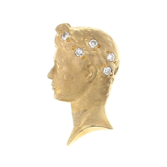 Roman Head Diamond Lapel Pin