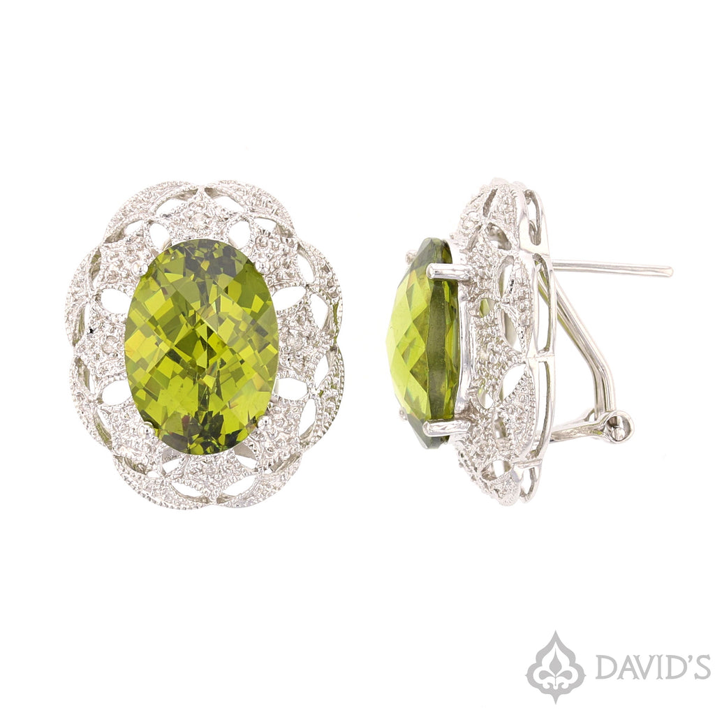Green CZ & Diamond Earrings