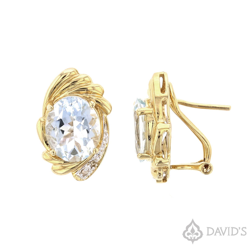 Aquamarine &  Diamond Earrings - David's Antiques & Jewelry