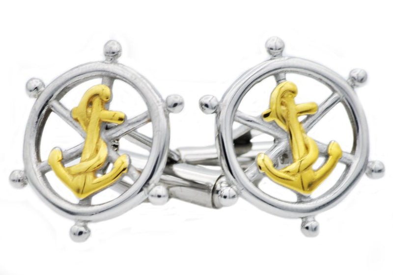 Ship Helm & Anchor Cuff Links