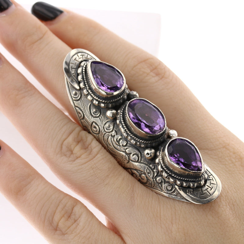 3 Gem Stone Ring - David's Antiques & Jewelry