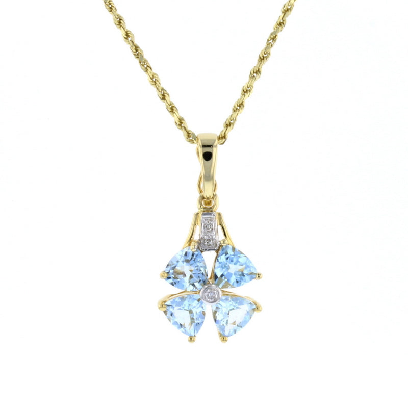 Aqua Clover Pendant - David's Antiques & Jewelry