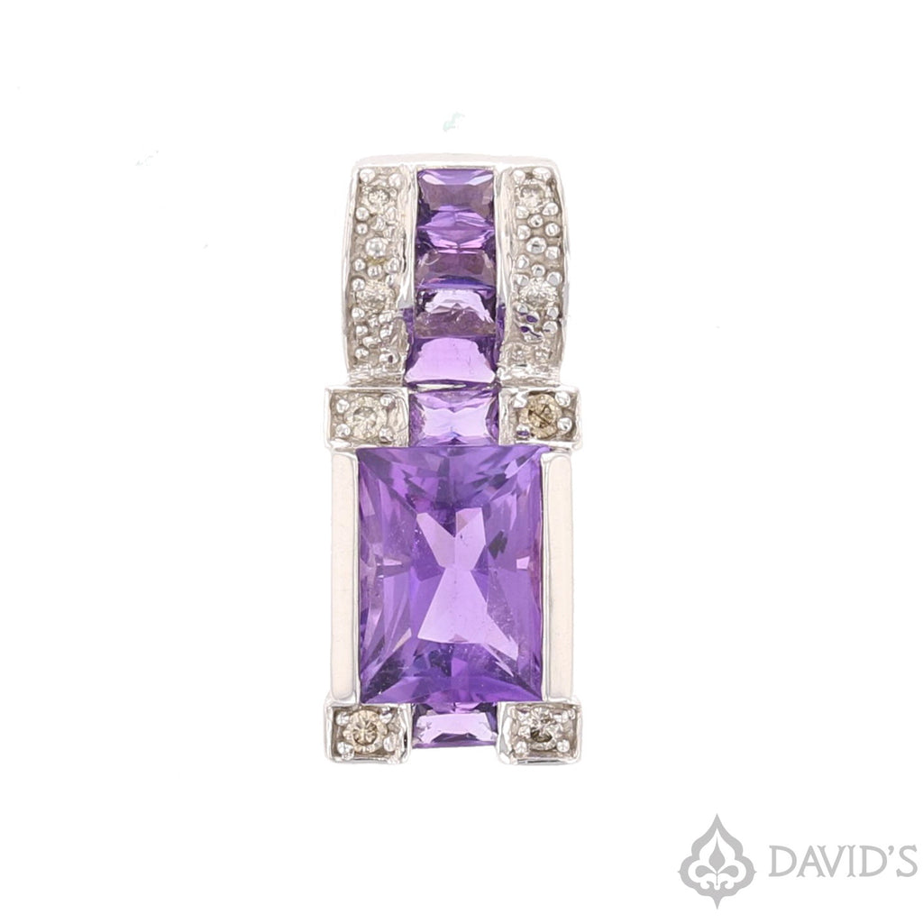 Amethyst &  Diamond Pendant - David's Antiques & Jewelry