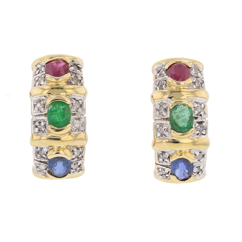 Ruby, Emerald, Sapphire & Diamond Earrings