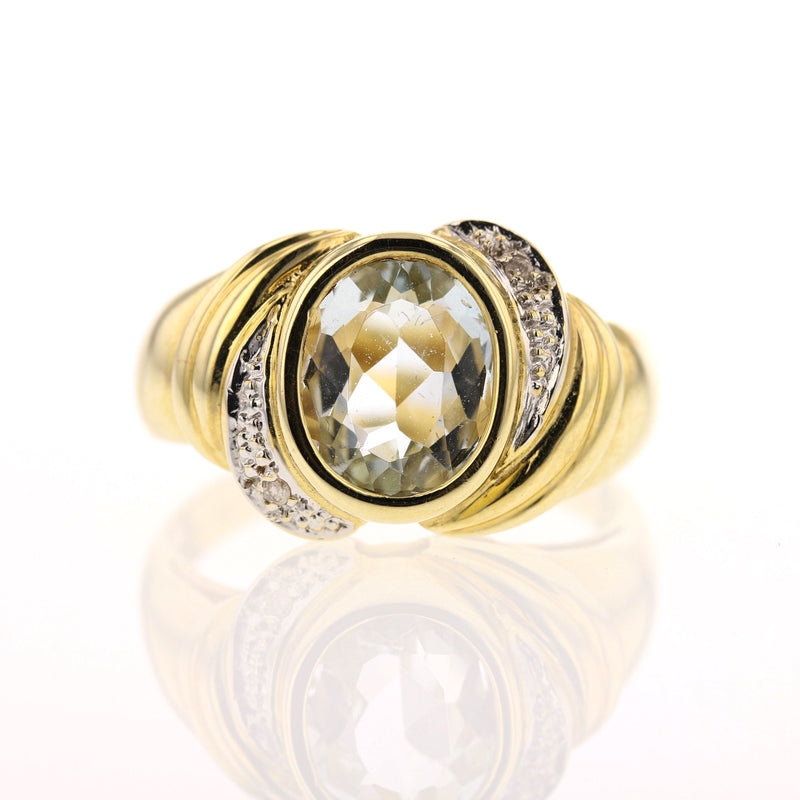 Aquamarine & Diamonds Ring - David's Antiques & Jewelry