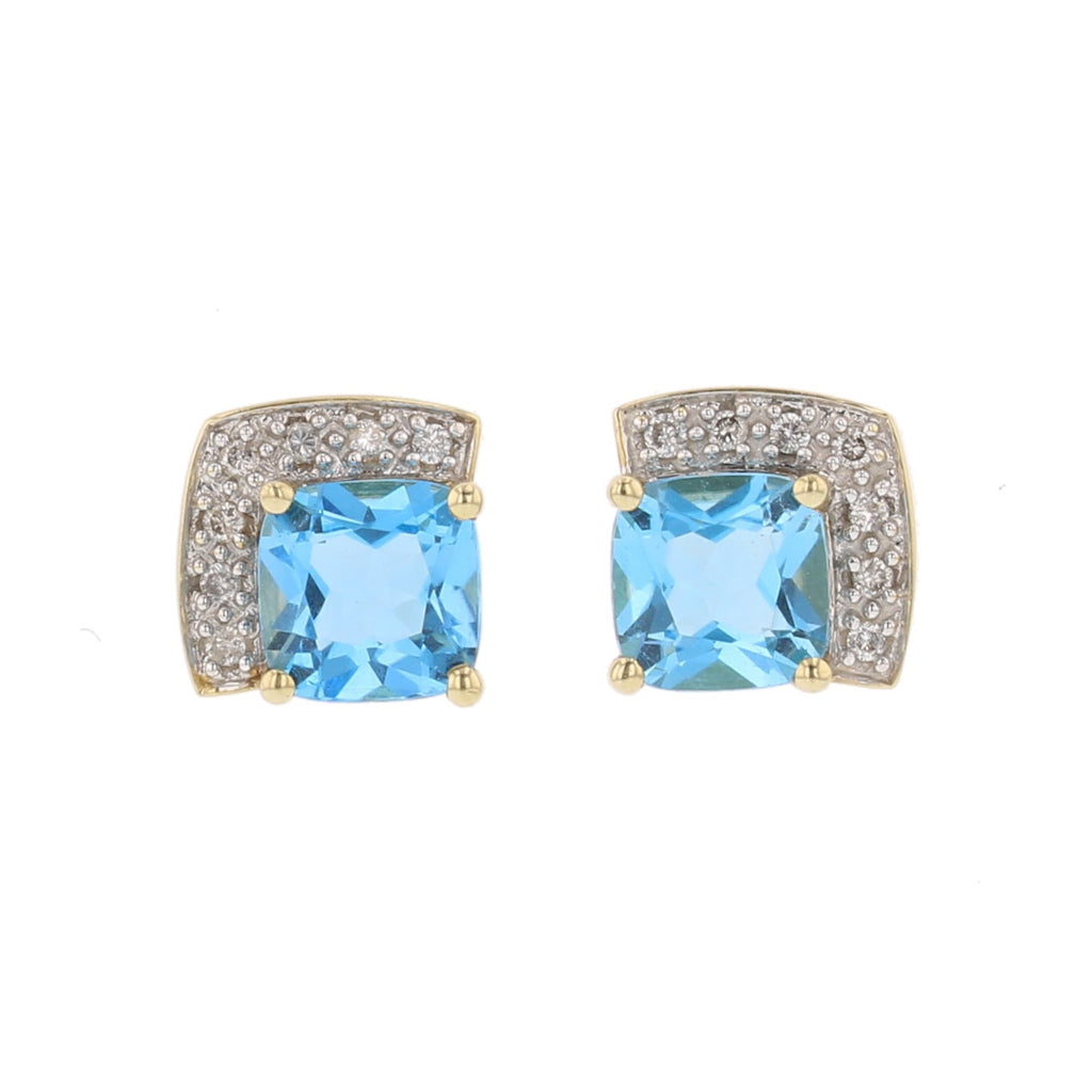 Blue Topaz & Diamond Earrings - David's Antiques & Jewelry