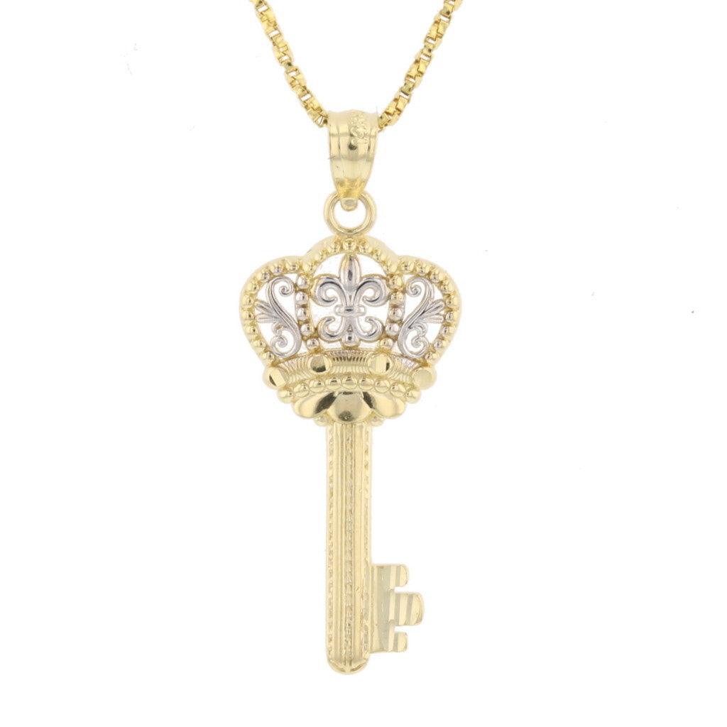 gold charm pendant yellow crown necklace diamond or ye rolex white