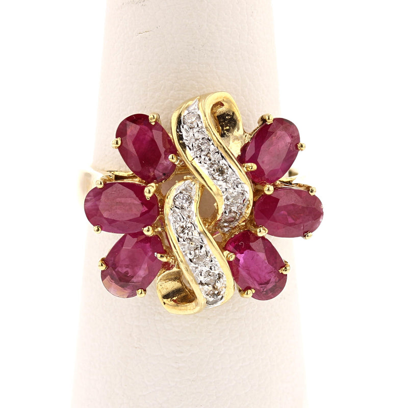 Huge Flower Ruby Ring