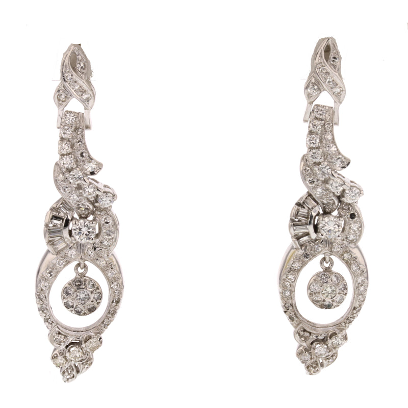 Art Deco Diamond Earrings - David's Antiques & Jewelry