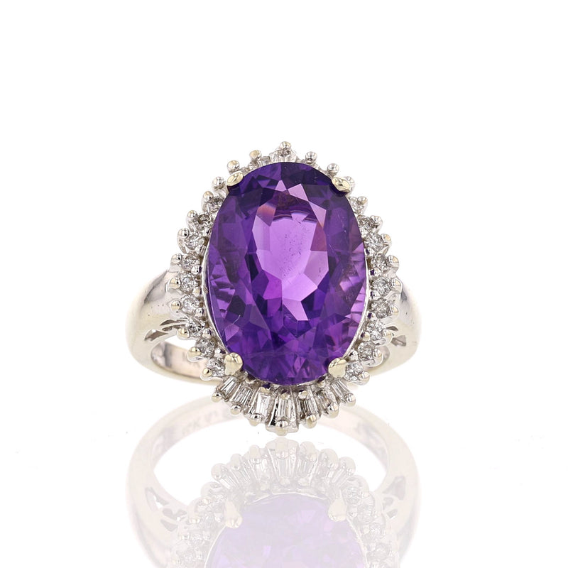 Amethyst  & Diamond Ring - David's Antiques & Jewelry