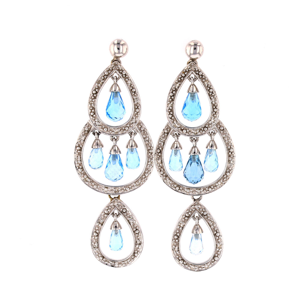 Blue Topaz Chandelier Earrings - David's Antiques & Jewelry