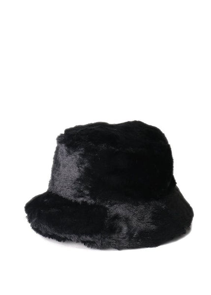 6077e44be3581 Faux Fur Fluffy Bucket Hat Black – Rocks And Socks