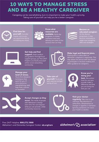 10 Ways to Manage Caregiver Stress Infographic