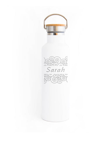 Elemental Bottles Engraved Swirls Matte White