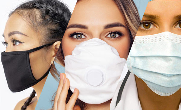 three different types of protective face masks