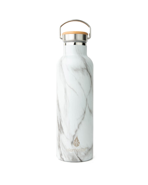 Elemental Stainless Steel Classic Water Bottle - 25oz White Marble - Elemental Gifts