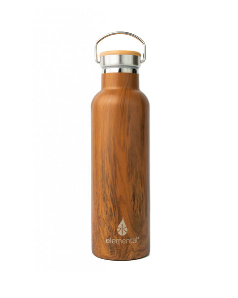 Elemental Stainless Steel Classic Water Bottle - 25oz Teak Wood - Elemental Gifts