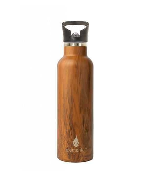 Elemental Stainless Steel Sport Water Bottle - 25oz Teak Wood