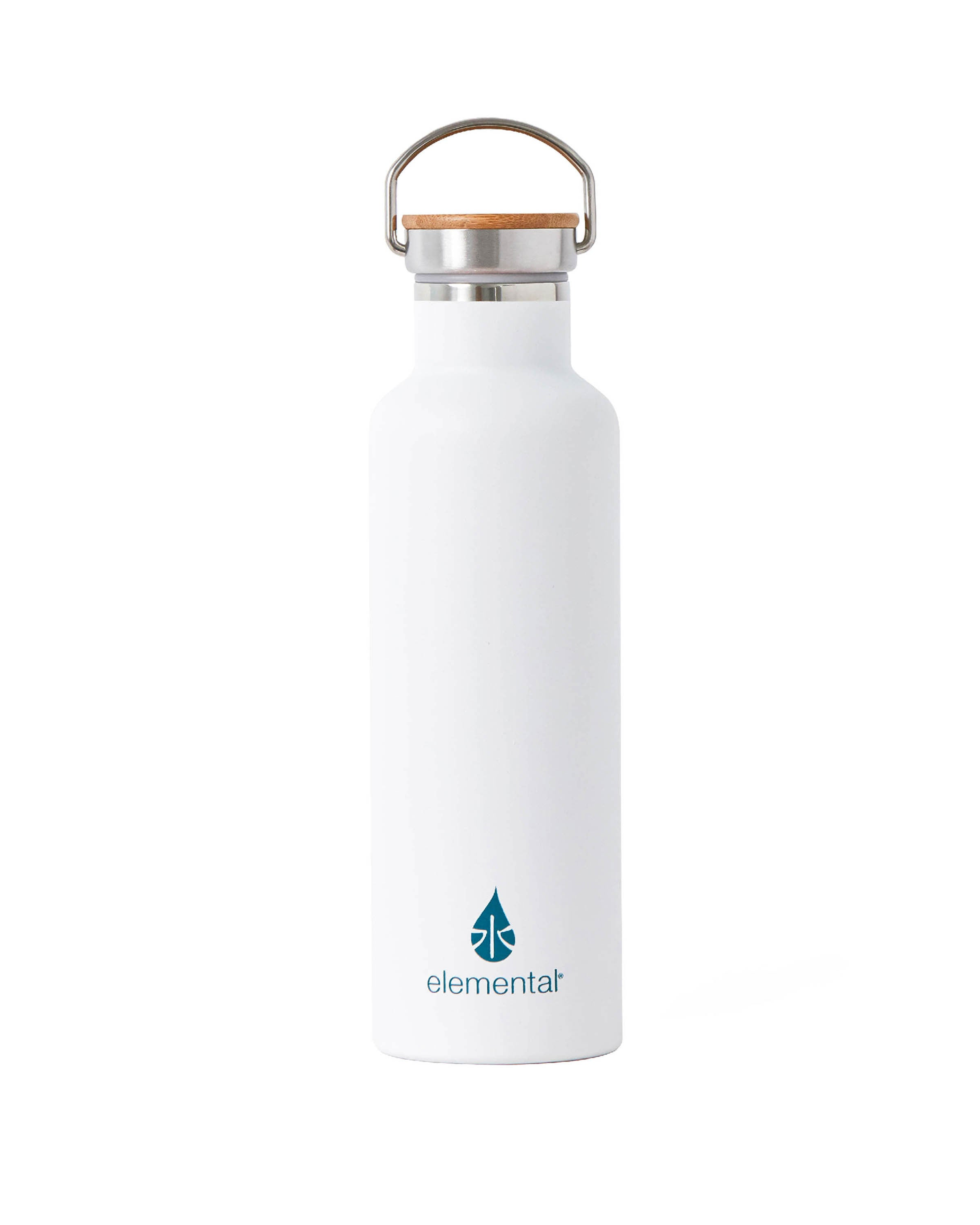 Elemental Stainless Steel Classic Water Bottle - 25oz Matte White - Elemental Gifts
