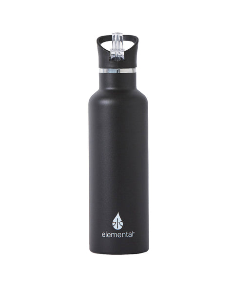 Elemental Stainless Steel Sport Water Bottle - 25oz Matte Black - Elemental Gifts