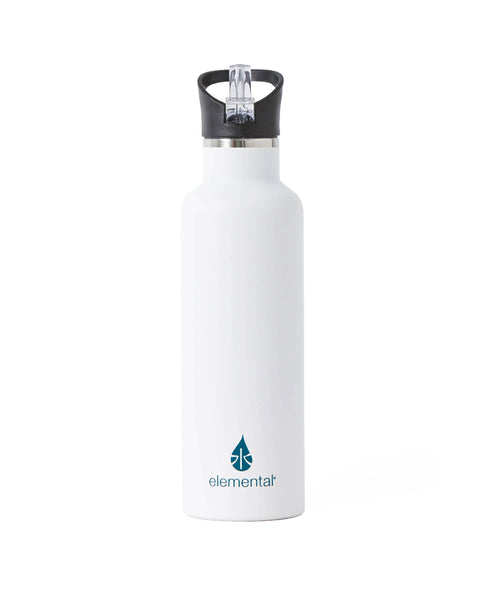 Elemental Stainless Steel Sport Water Bottle - 25oz Matte White - Elemental Gifts