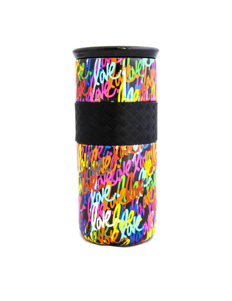 Elemental 16 oz Love Tumbler - Gloss Black Background - Elemental Gifts
