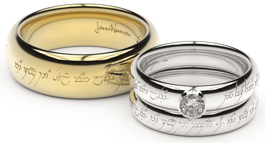 Elvish Love Rings in three sizes stacked on top of each other