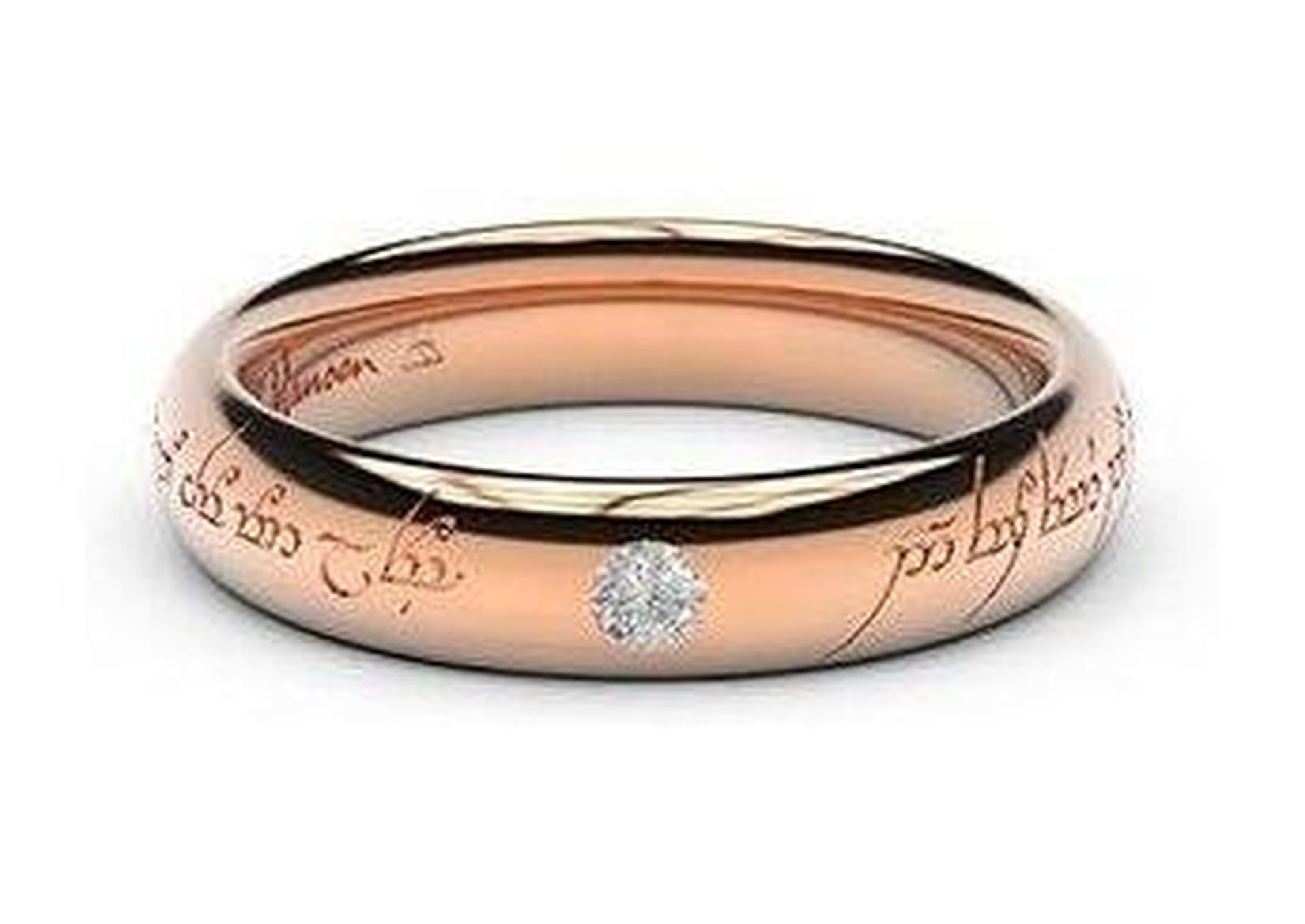 Sleek Elvish Engagement Ring, ~.10ct 14ct Red Gold