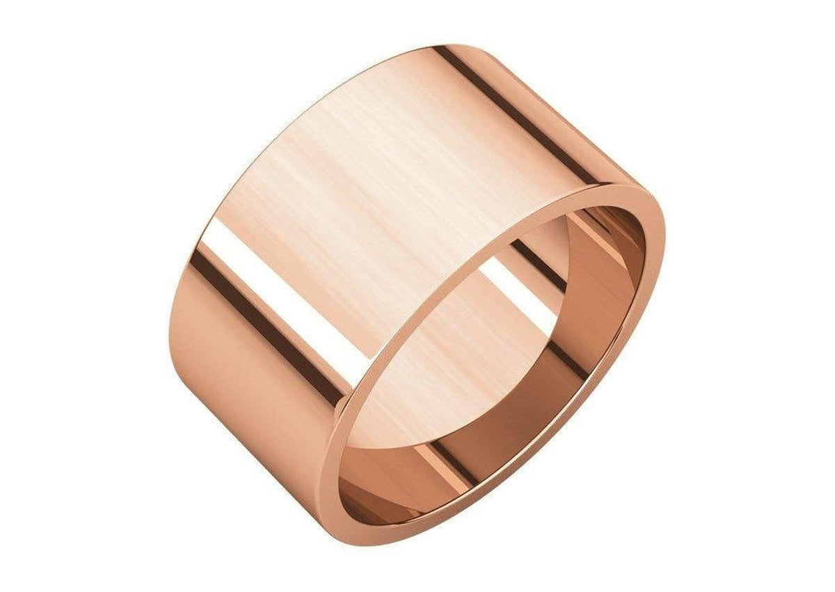 3-12mm Classic Flat Wedding Band. Red Gold.