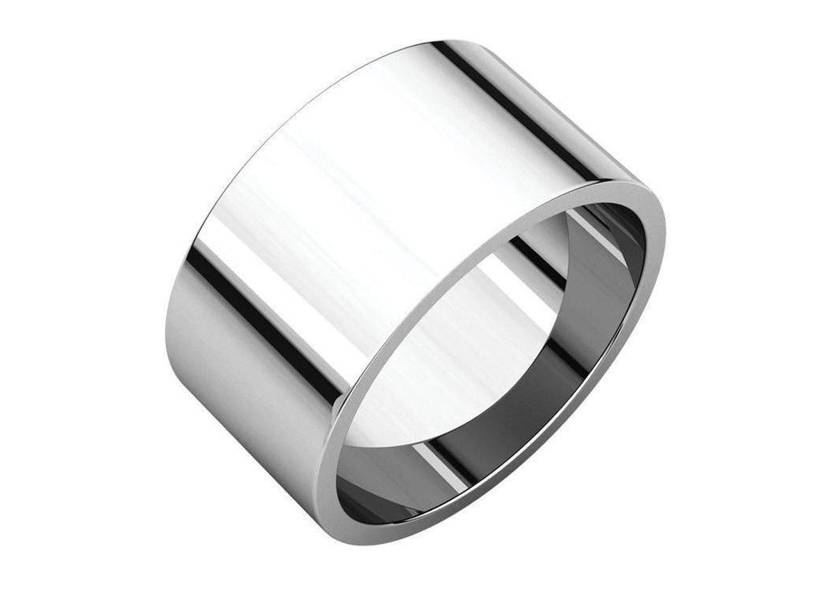 3-12mm Classic Flat Wedding Band. White Gold & Platinum