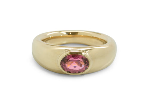 Oval Faceted Gemstone Ring, Yellow Gold