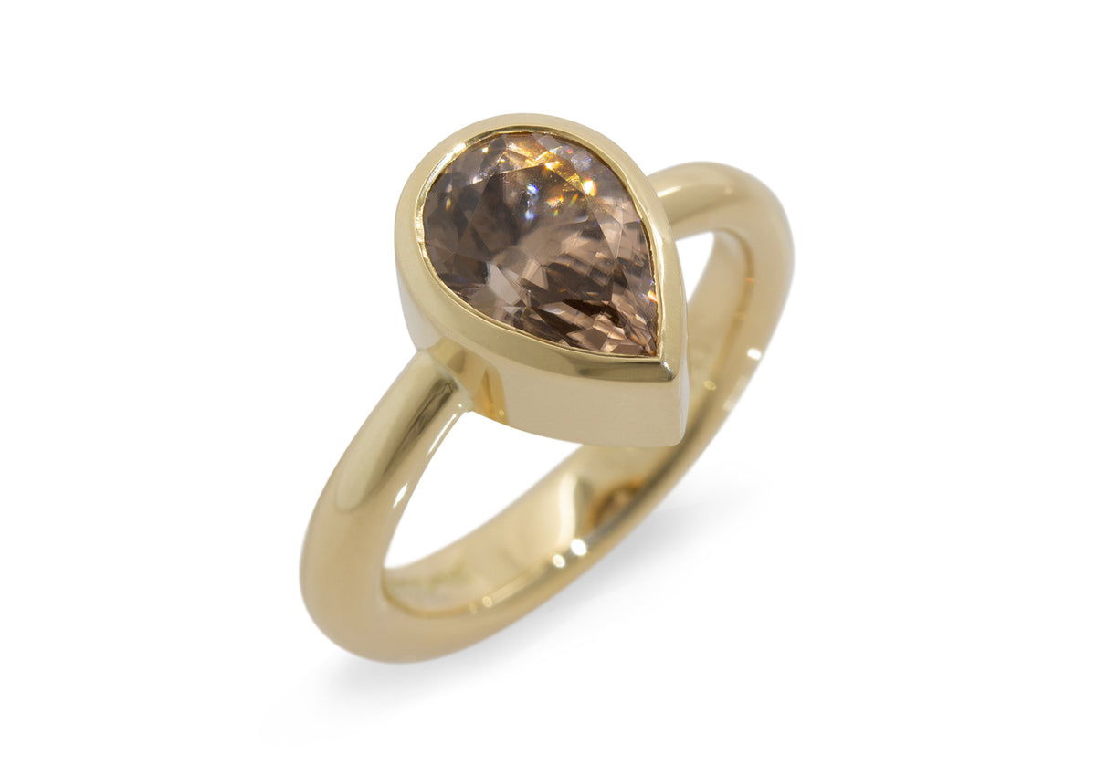Pear Shaped Cognac Zircon Ring, Yellow Gold