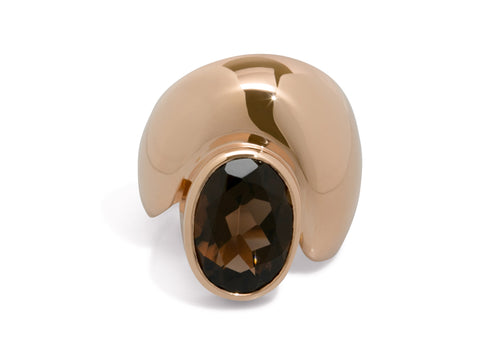 Sculpted Ring with Faceted Gemstone, Red Gold