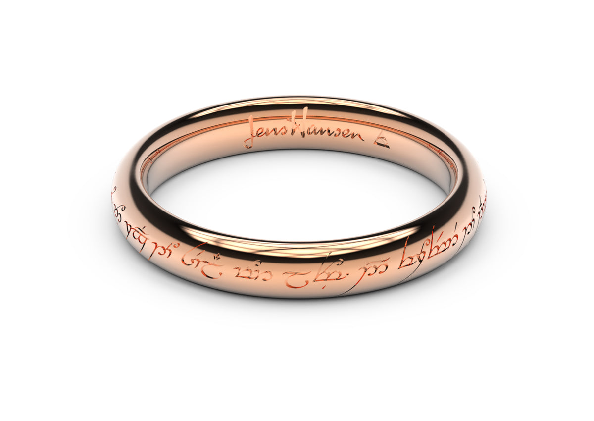 Petite Elvish Love Ring, Red Gold