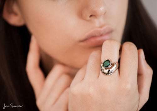 Deep Green Tourmaline Ring, White Gold