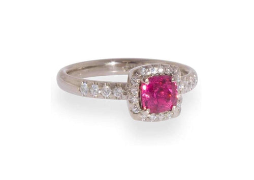 Custom Electric Pink Spinel & Diamond Halo Ring, White Gold