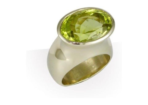 18ct Gold & Olive Green CZ Ring   - Jens Hansen