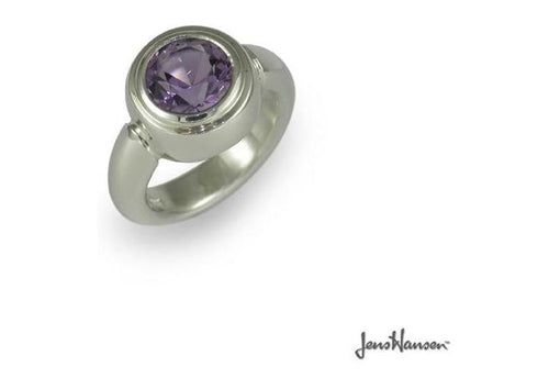 Silver ring with round Iolite   - Jens Hansen