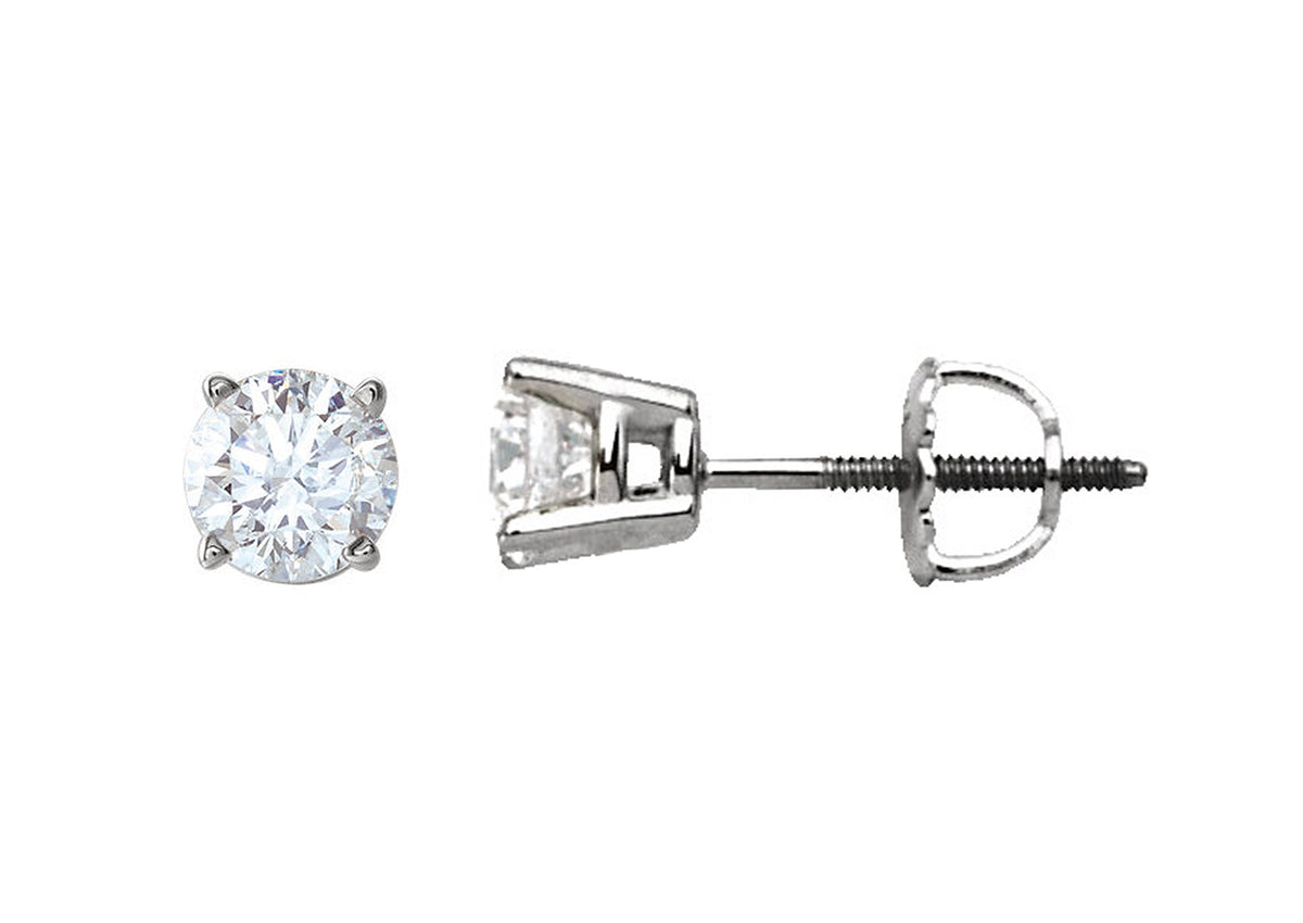Four Prong Diamond Studs, Platinum