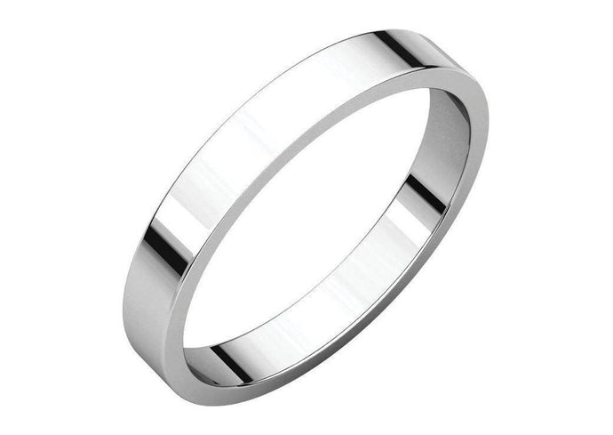 3-12mm Classic Flat Wedding Band. White Gold, Palladium & Platinum   - Jens Hansen - 1
