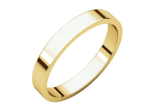 3-12mm Classic Flat Wedding Band. Yellow Gold.   - Jens Hansen - 2